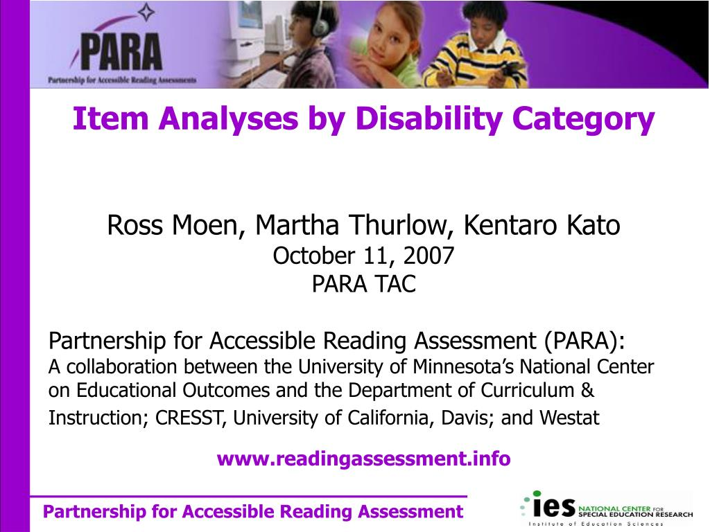 item analyses by disability category l.