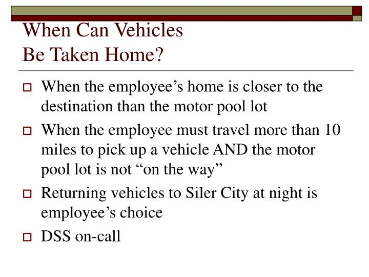When Can Vehicles