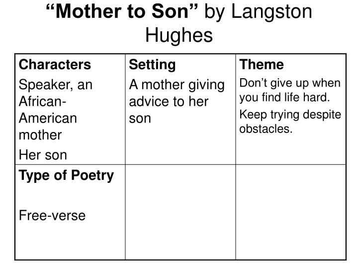 summary of the poem mother to son by langston hughes