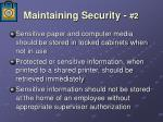 maintaining security 2