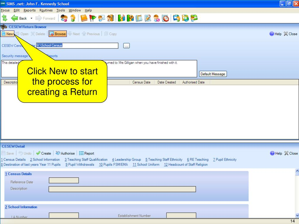 Click New to start the process for creating a Return