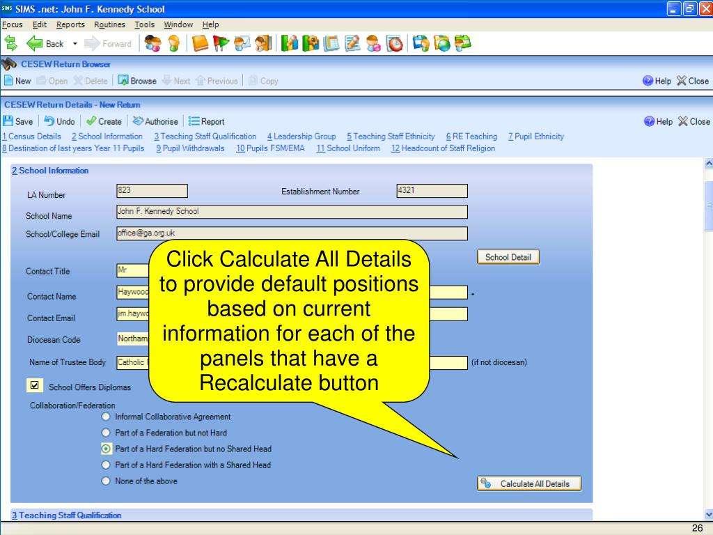 Click Calculate All Details to provide default positions based on current information for each of the panels that have a Recalculate button