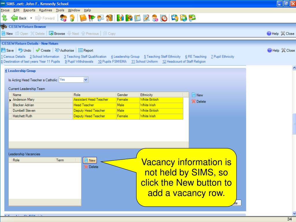 Vacancy information is not held by SIMS, so click the New button to add a vacancy row.