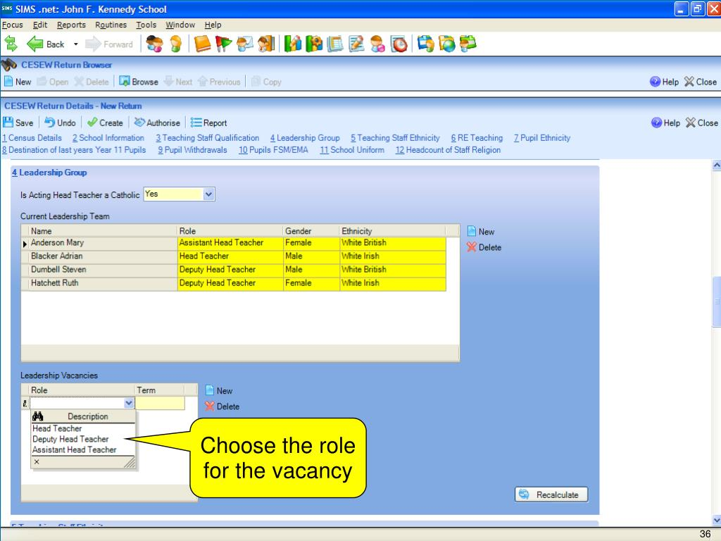 Choose the role for the vacancy