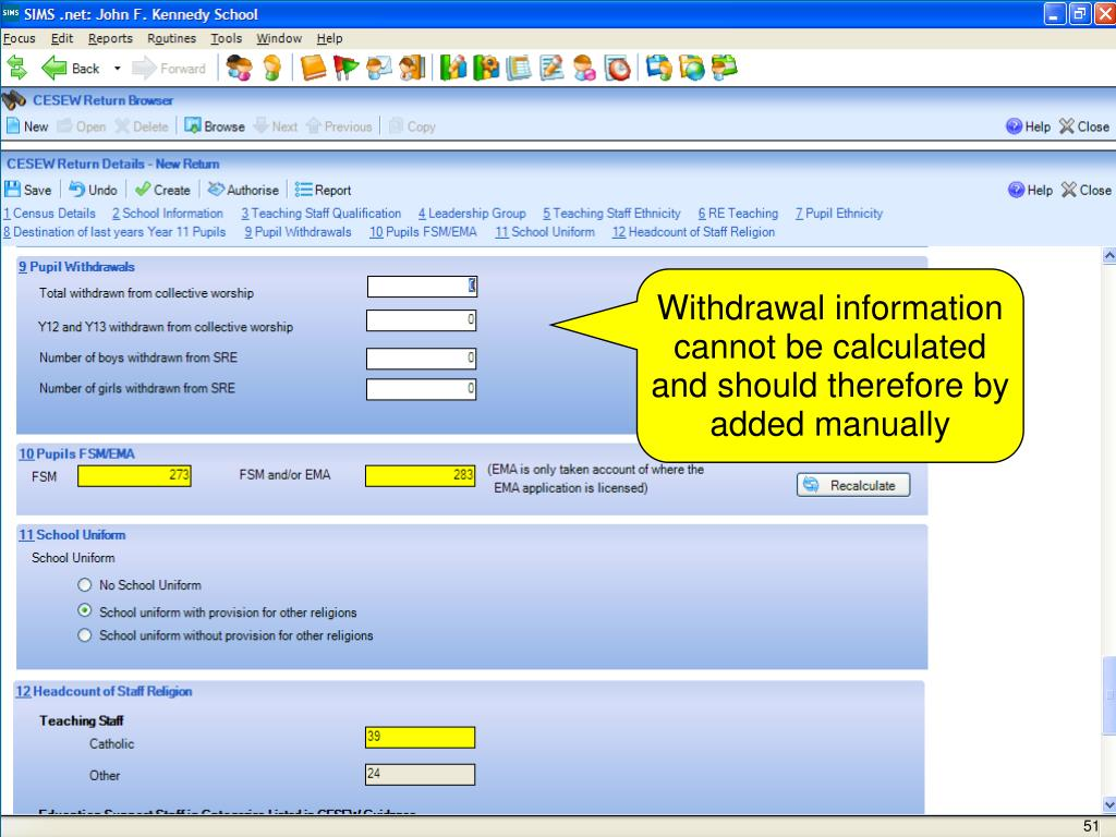 Withdrawal information cannot be calculated and should therefore by added manually