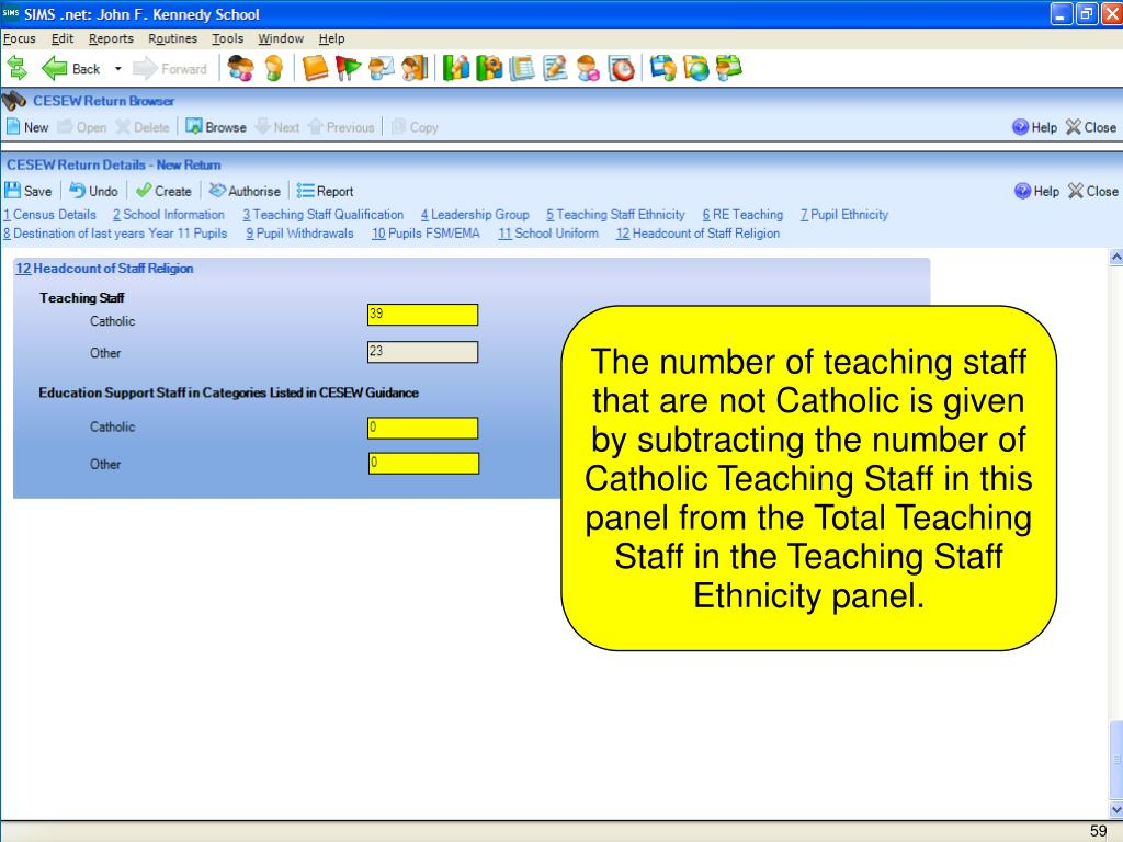 The number of teaching staff that are not Catholic is given by subtracting the number of Catholic Teaching Staff in this panel from the Total Teaching Staff in the Teaching Staff Ethnicity panel.