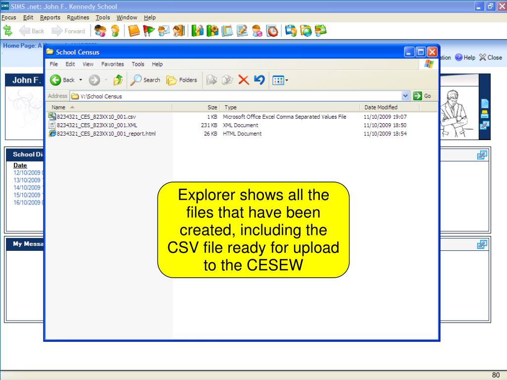 Explorer shows all the files that have been created, including the CSV file ready for upload to the CESEW