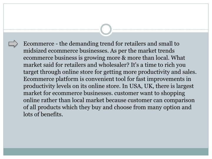 Ecommerce - the demanding trend for retailers and small to midsized ecommerce businesses. As per the...