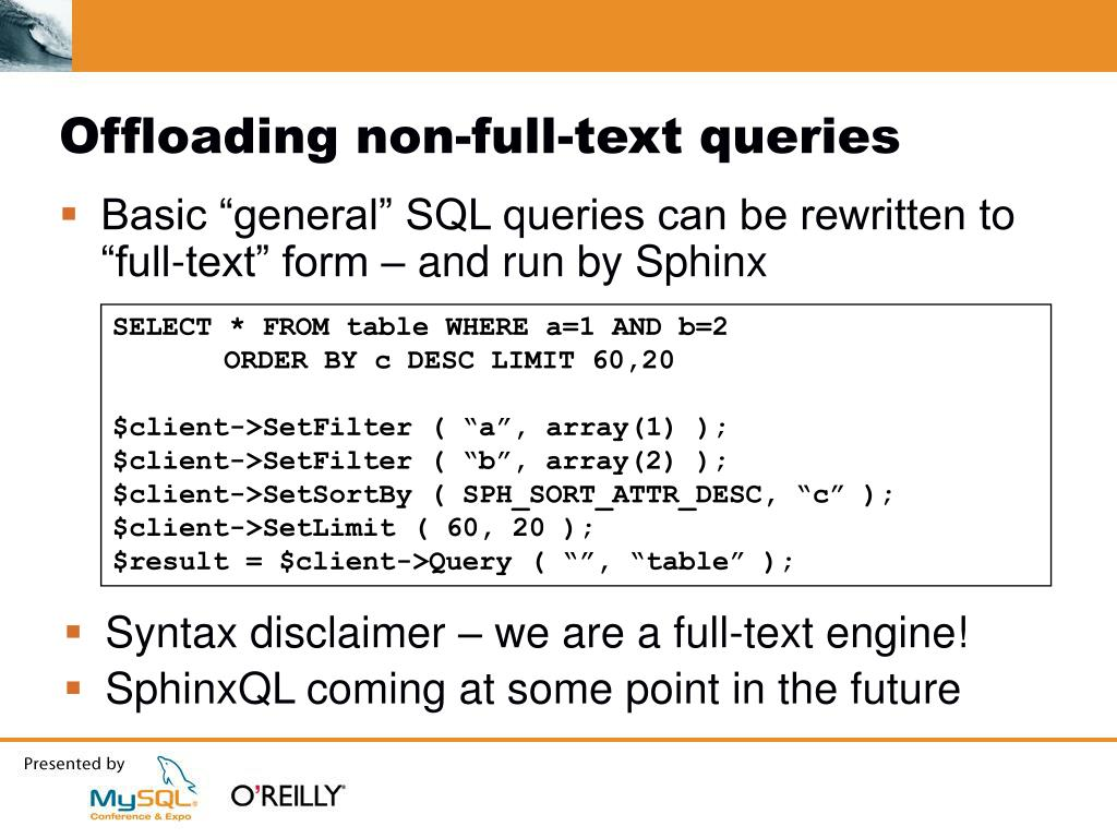 Offloading non-full-text queries