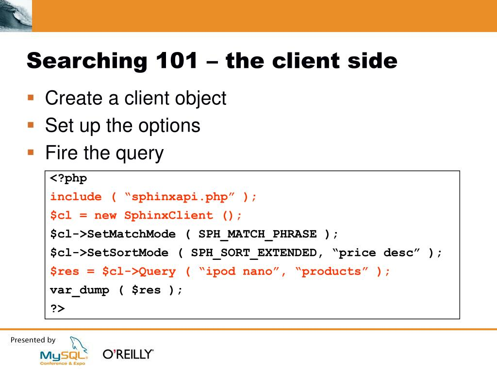 Searching 101 – the client side