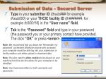 submission of data secured server30
