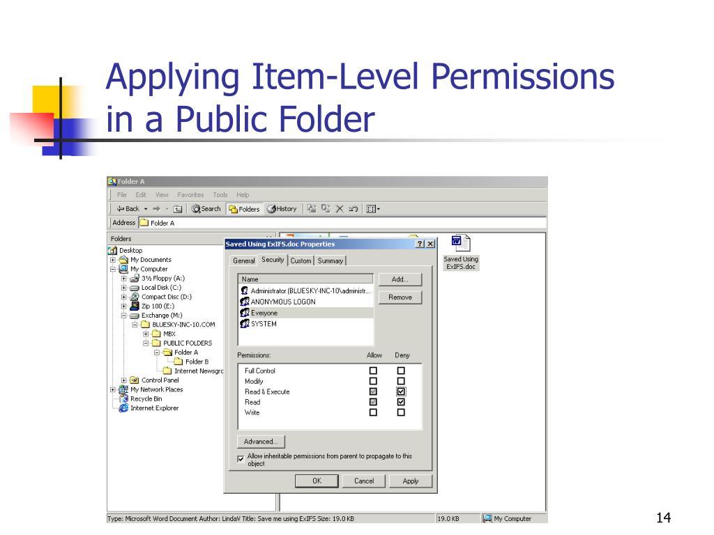 Applying Item-Level Permissions in a Public Folder