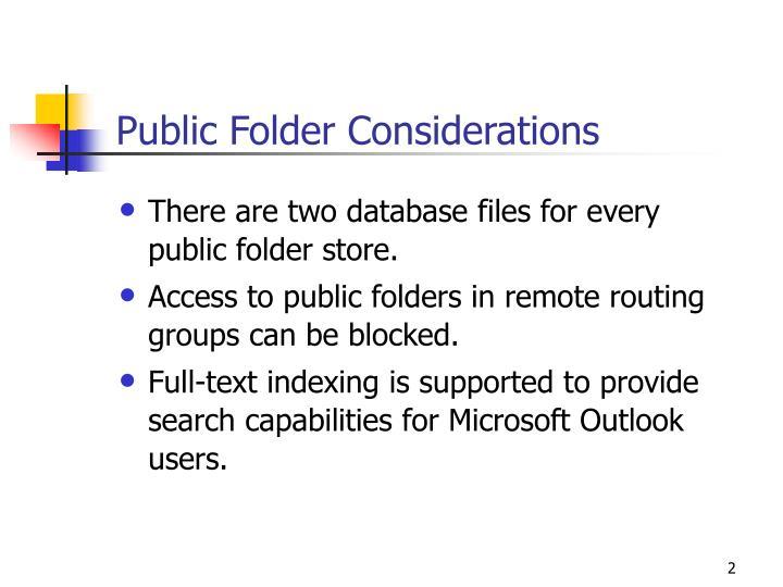 Public folder considerations