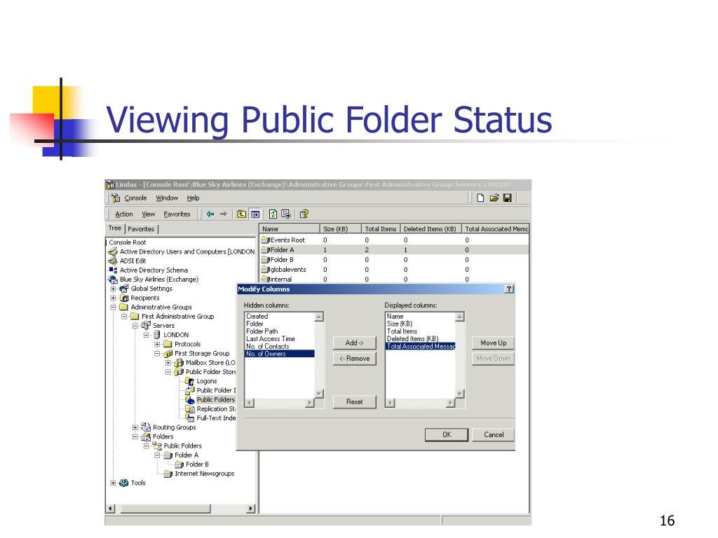 Viewing Public Folder Status