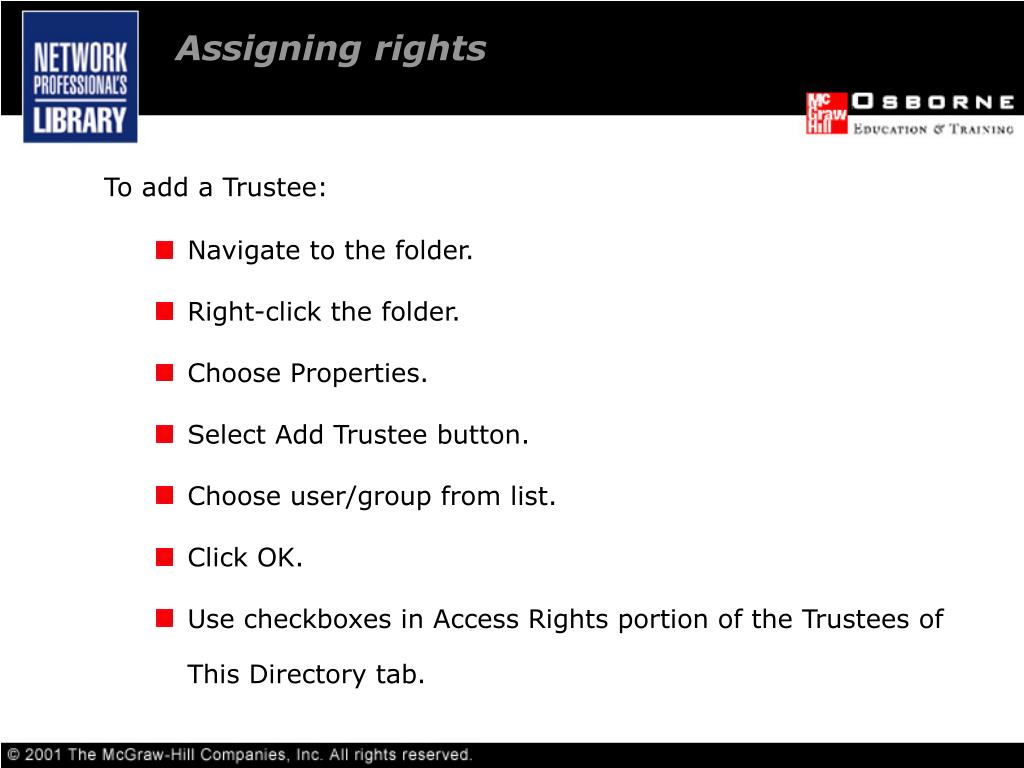 Assigning rights