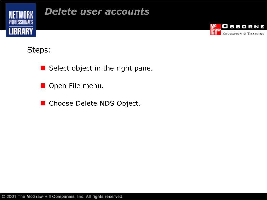Delete user accounts