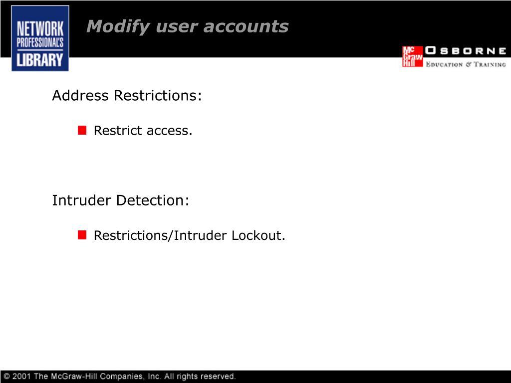 Modify user accounts