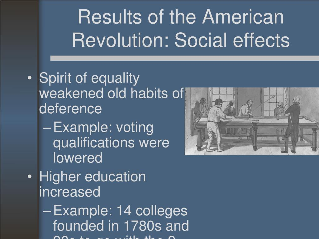 Results of the American Revolution: Social effects