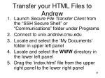 transfer your html files to andrew