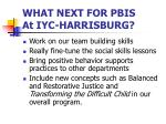 what next for pbis at iyc harrisburg