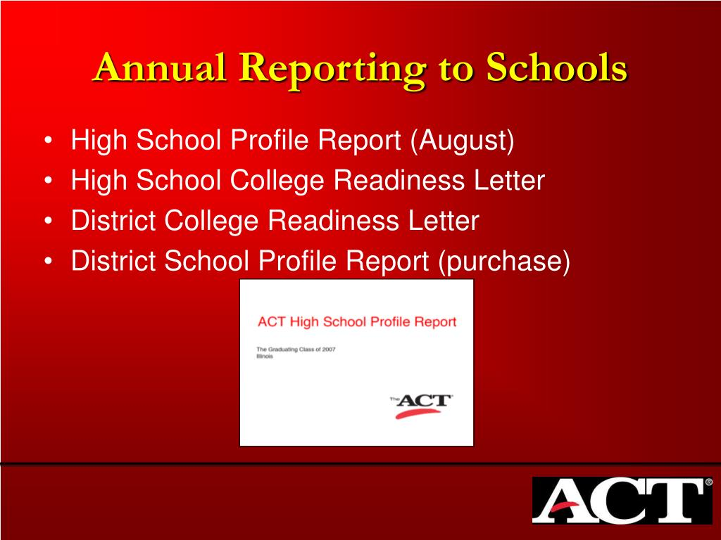 Annual Reporting to Schools