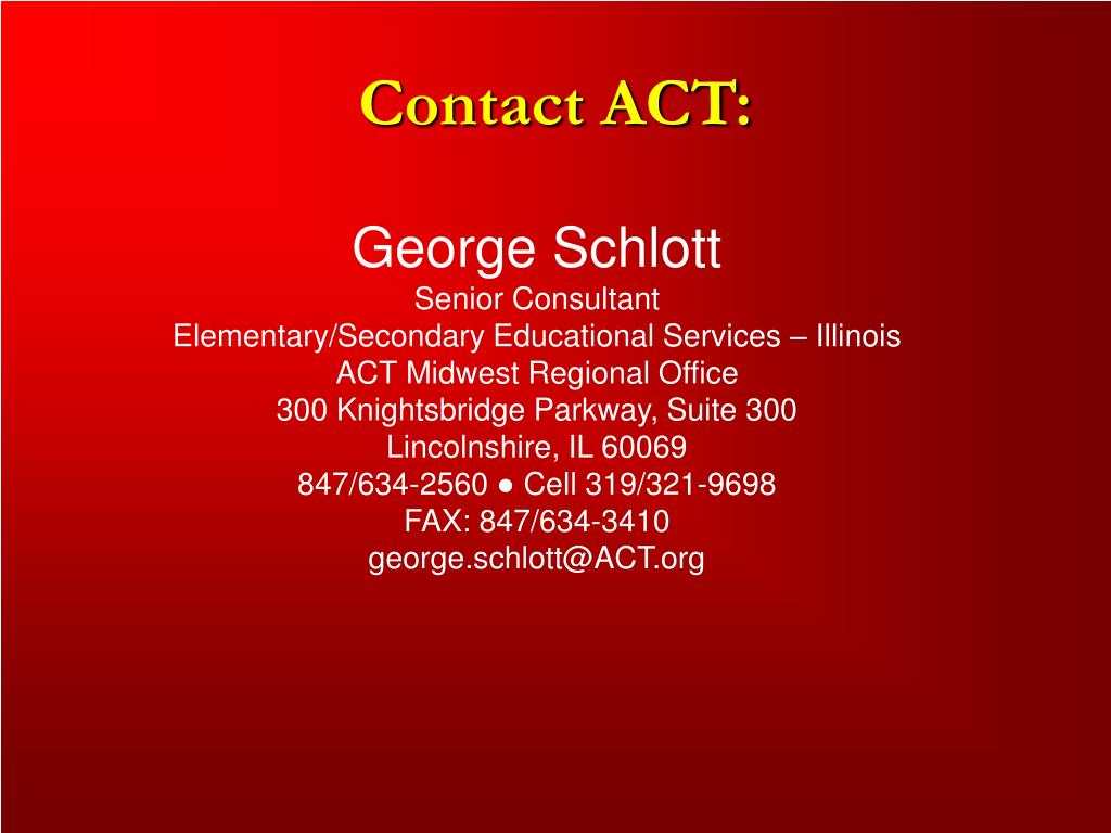 Contact ACT: