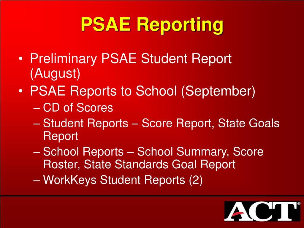 PSAE Reporting