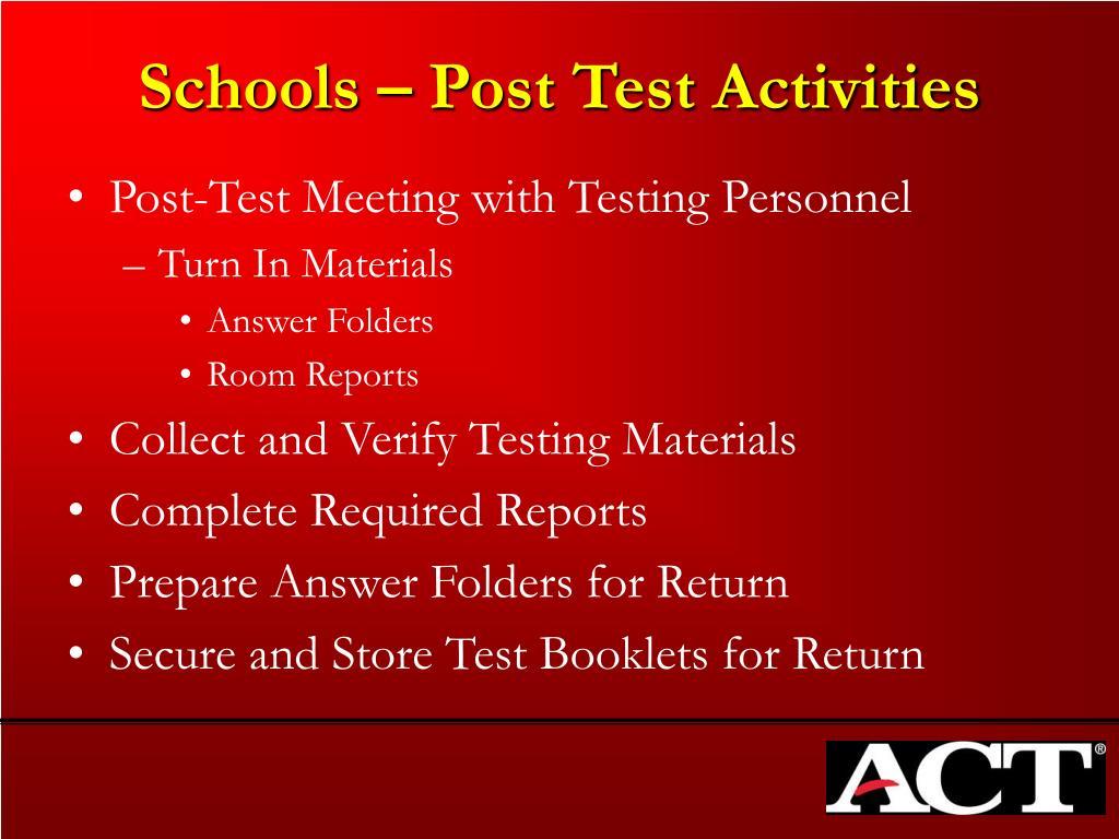 Schools – Post Test Activities