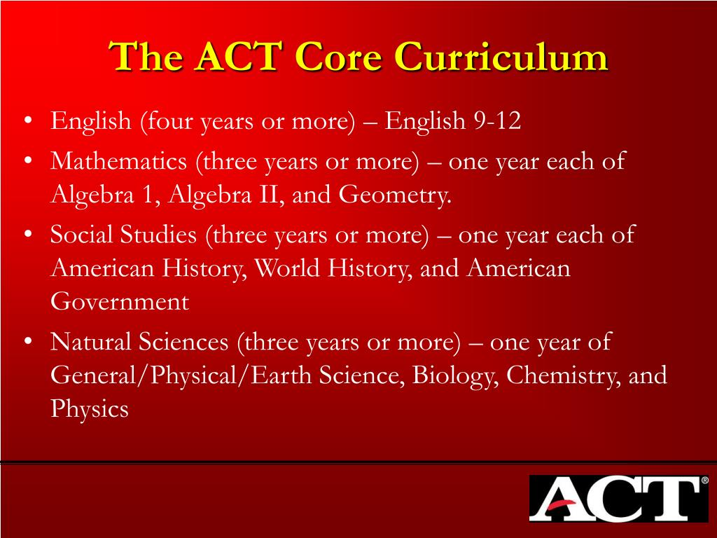 The ACT Core Curriculum
