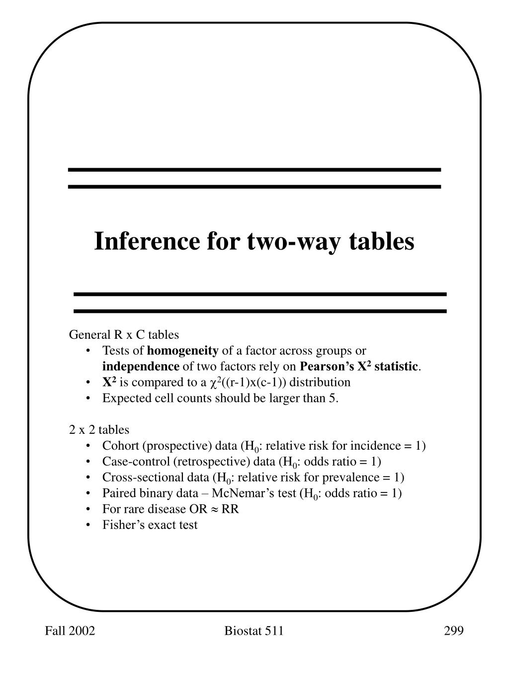 Inference for two-way tables