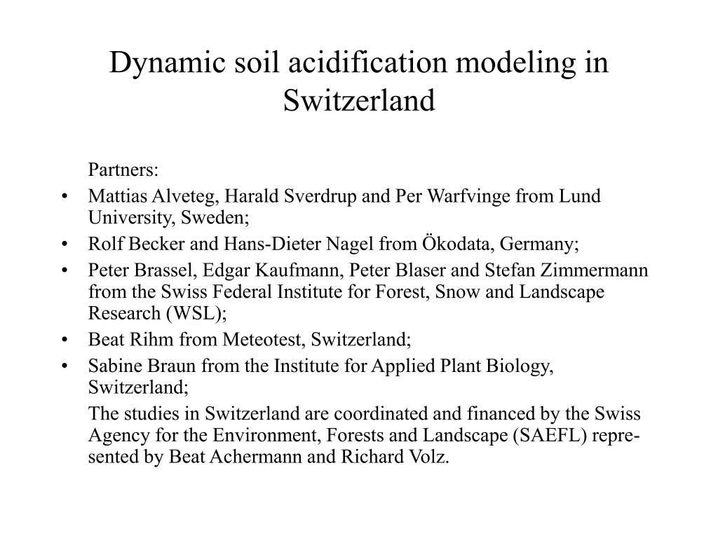dynamic soil acidification modeling in switzerland l.