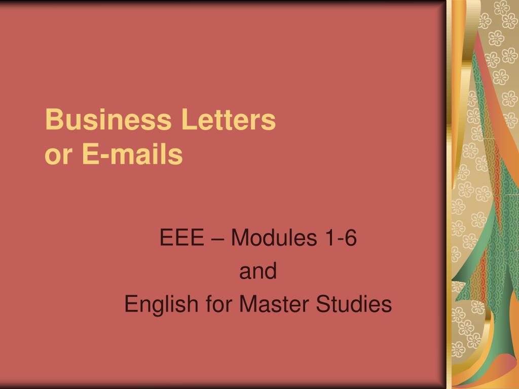 business letters or e mails l.