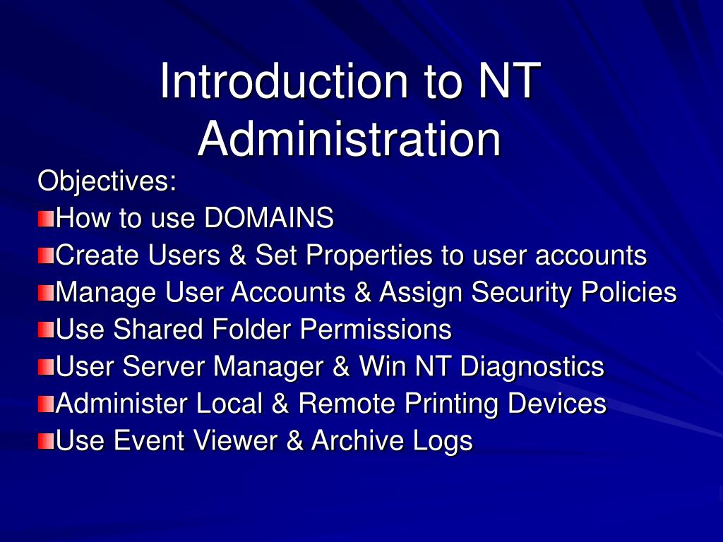 introduction to nt administration l.
