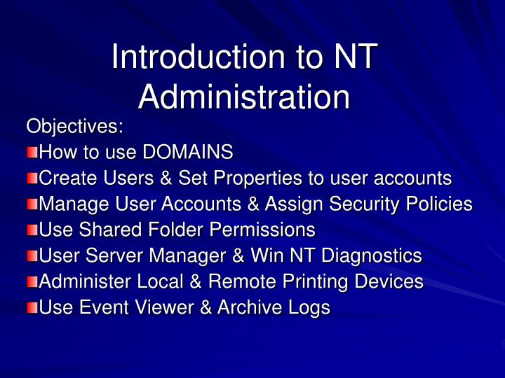 introduction to nt administration n.