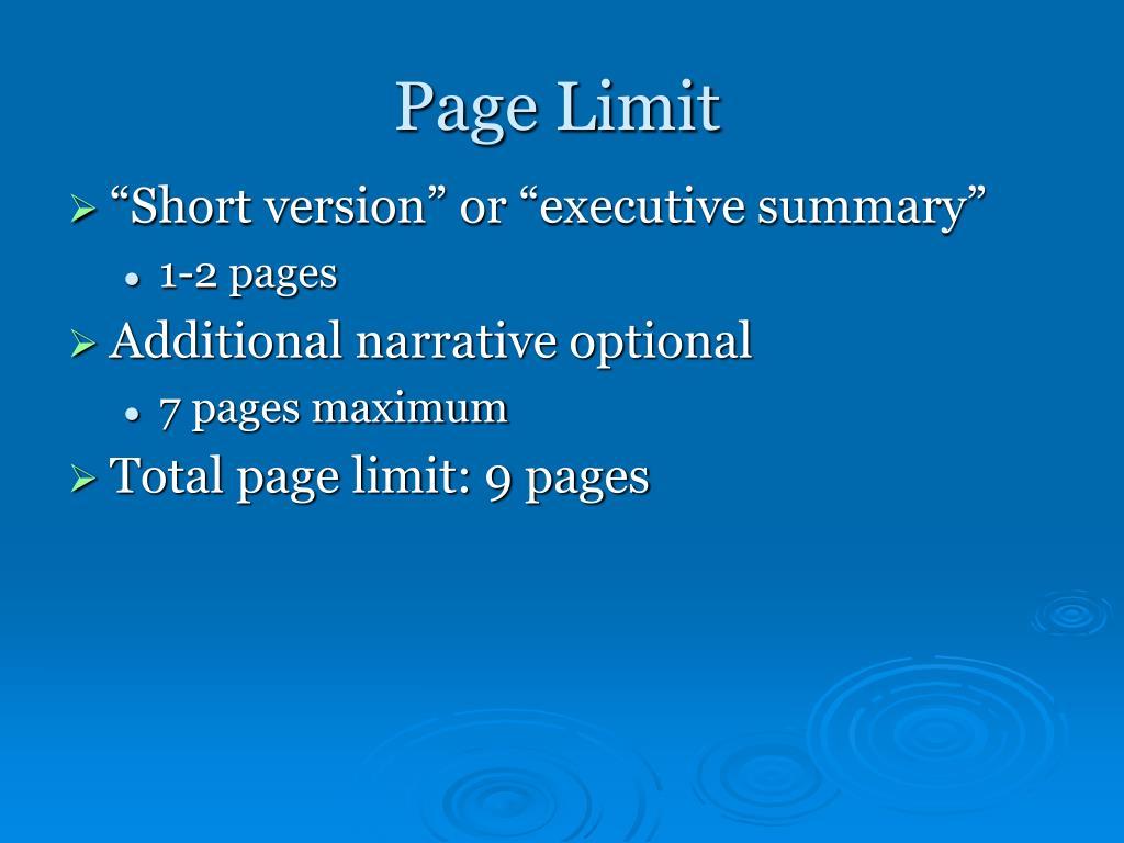 Page Limit