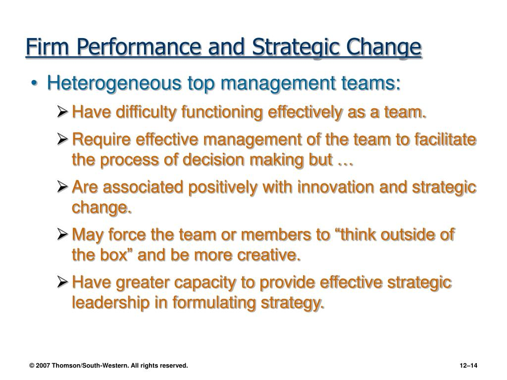 Firm Performance and Strategic Change