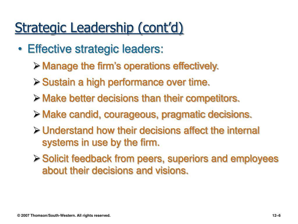Strategic Leadership (cont'd)