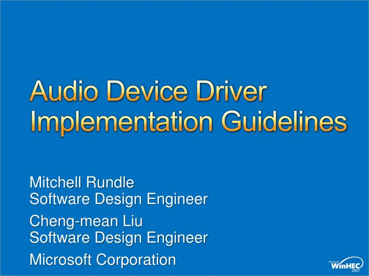 audio device driver implementation guidelines n.