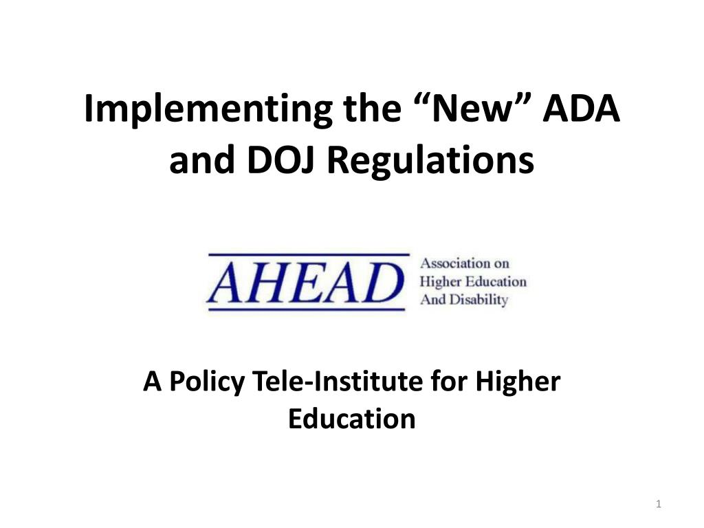 implementing the new ada and doj regulations l.