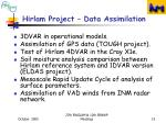 hirlam project data assimilation