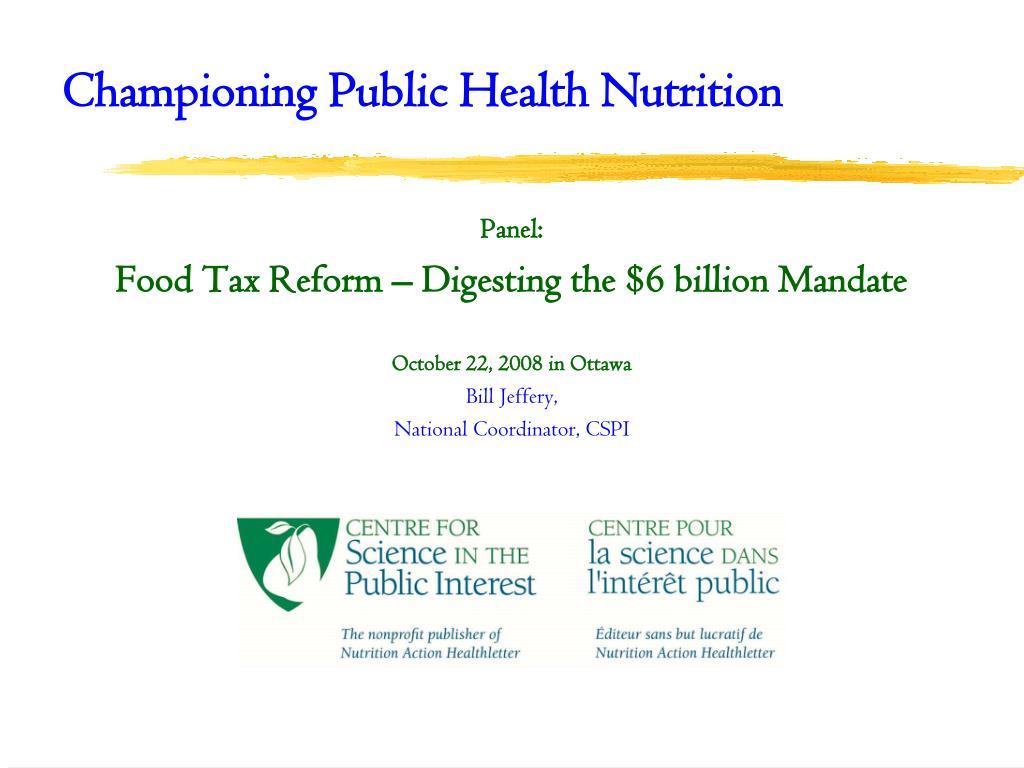 championing public health nutrition l.