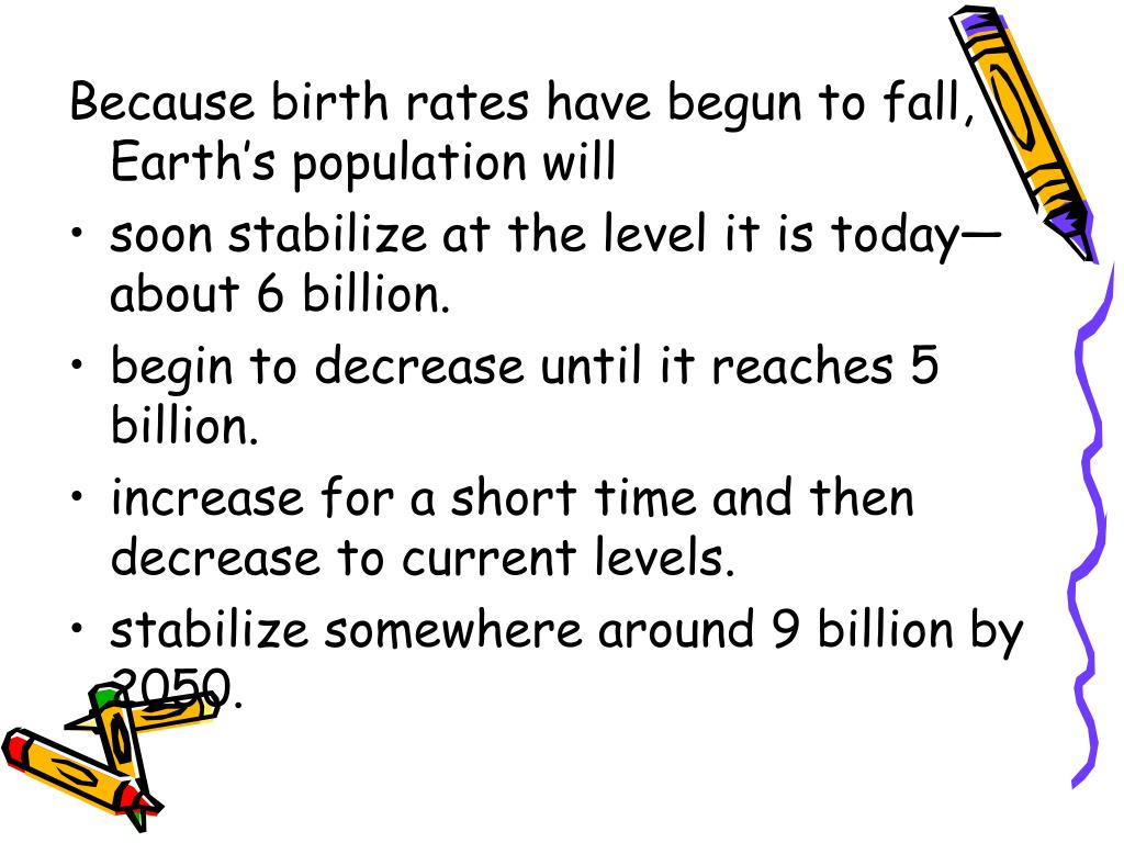 Because birth rates have begun to fall, Earth's population will