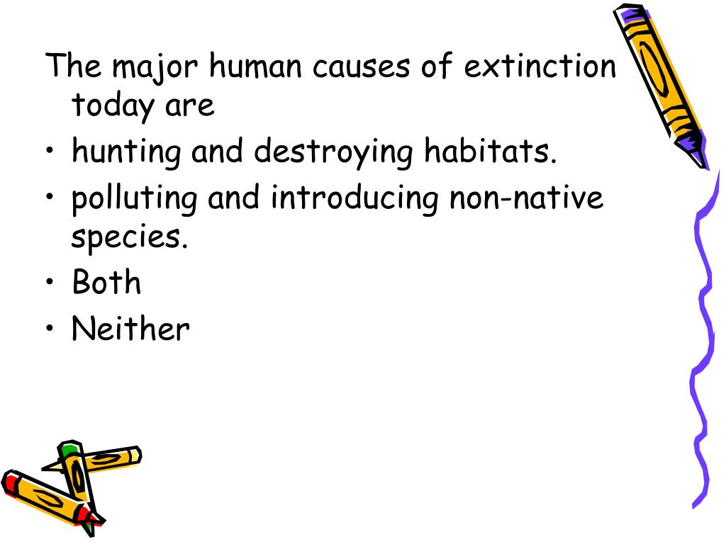 The major human causes of extinction today are