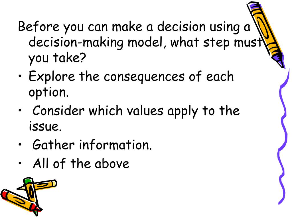 Before you can make a decision using a decision-making model, what step must you take?