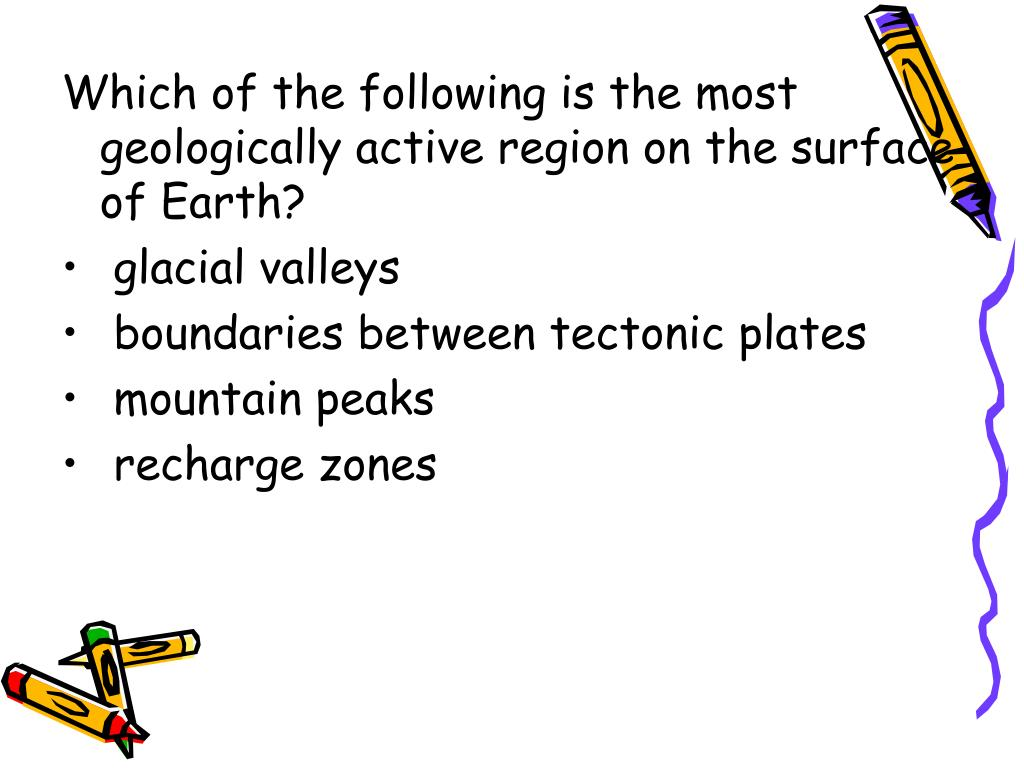Which of the following is the most geologically active region on the surface of Earth?