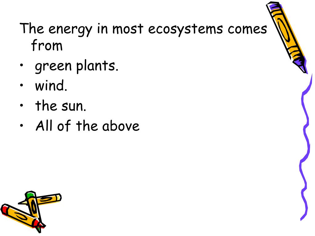 The energy in most ecosystems comes from