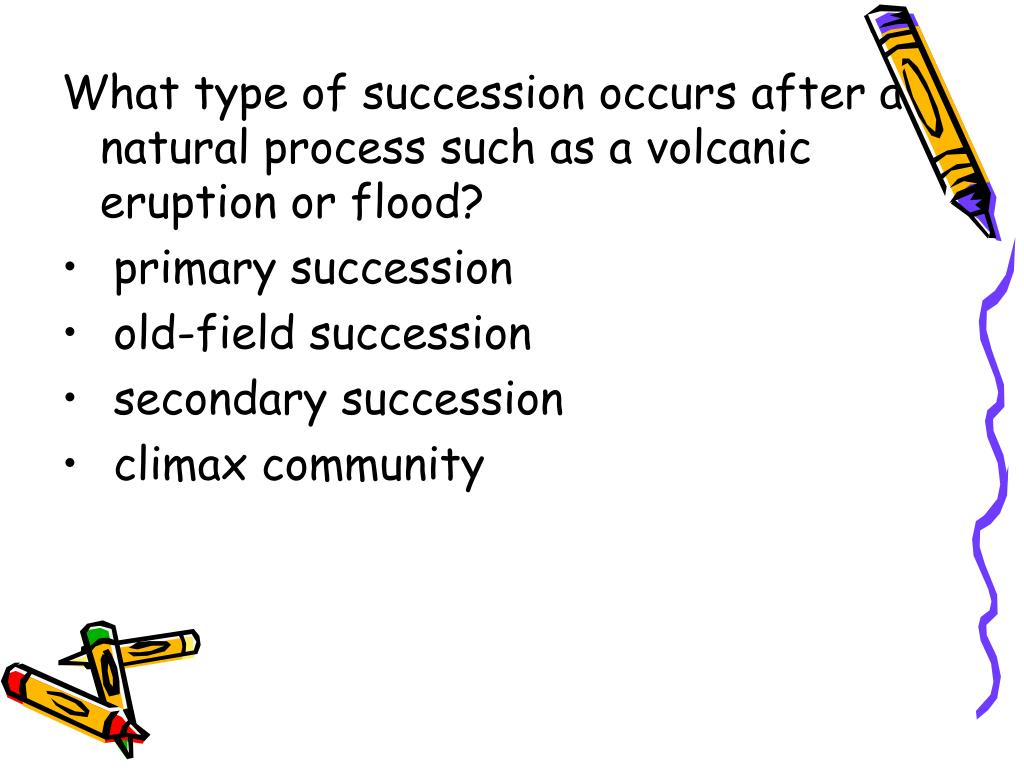 What type of succession occurs after a natural process such as a volcanic eruption or flood?