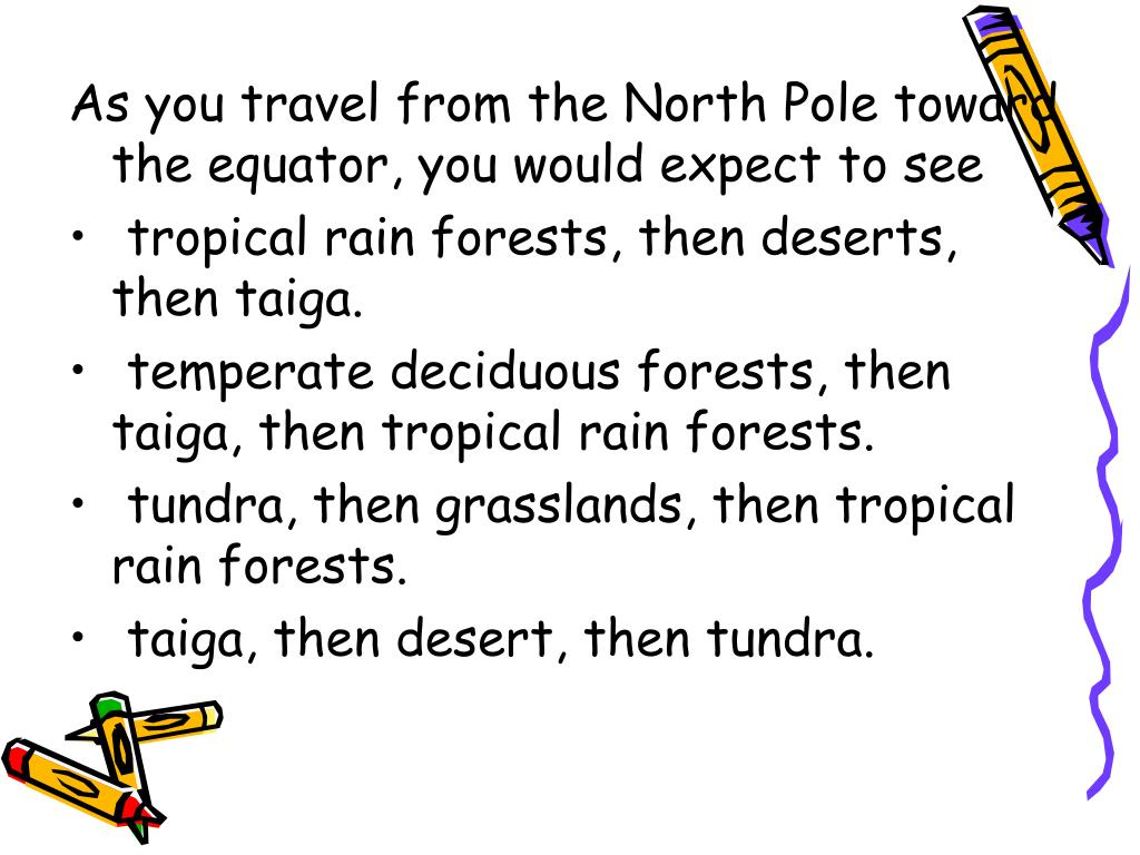 As you travel from the North Pole toward the equator, you would expect to see