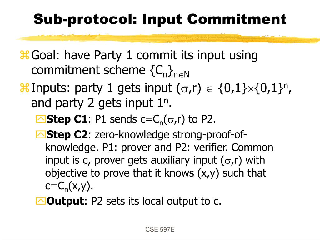 Sub-protocol: Input Commitment