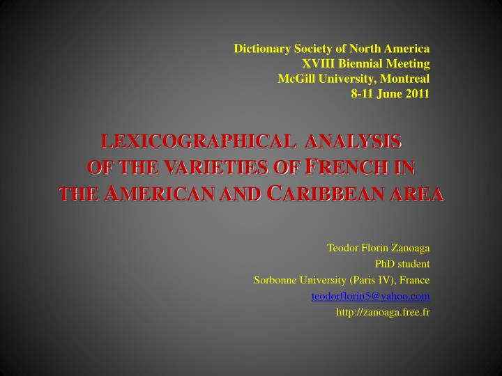 lexicographical analysis of the varieties of f rench in the a merican and c aribbean area n.